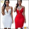 Ecoach fashion OEM Sleeveless Backless Solid color Hollow out sexy picture women without dress Deep V Neck sexy Dress for female
