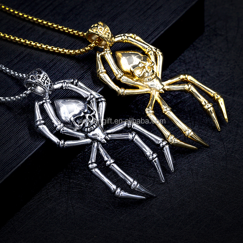 Top Quality America Punk Style Skull Heads Spider Pendant Gold Plated Pendant
