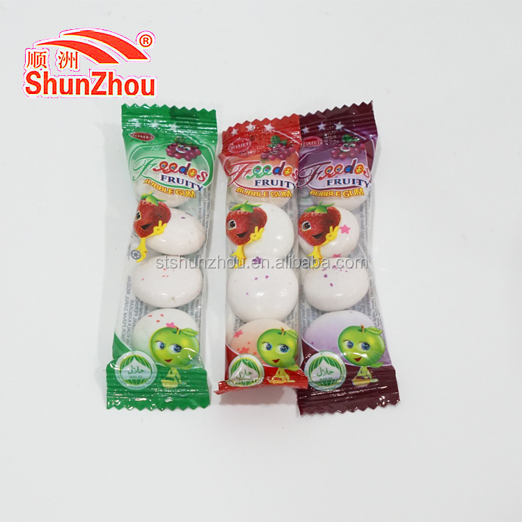 Xylitol ball shape bubble gum with filling