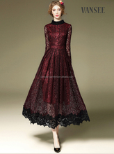 ankle long style red black elegant lace evening dress ladies