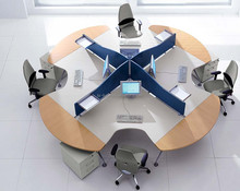 Modern round office workstation/4 person workstation/office desk divider 2079