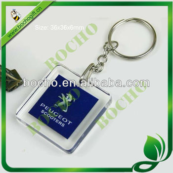 square acrylic key chain with logo