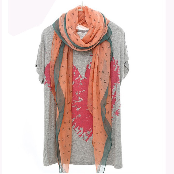 New Fashion Women Anchor Hook Print Voile Wrap voile scarf SV011812