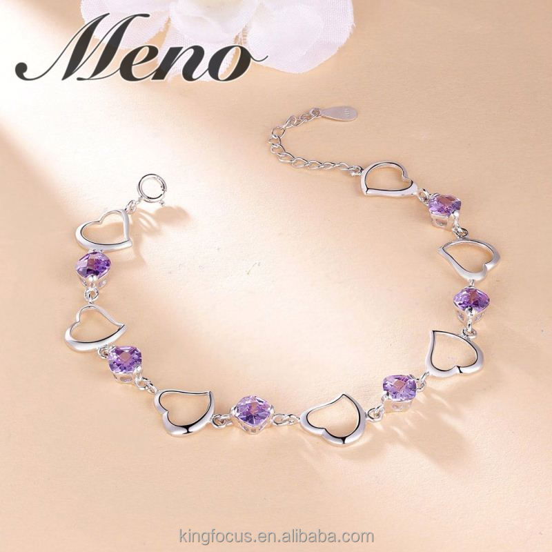 Meno 925 silver bracelet fashion925 pure and fresh ethos purple heart