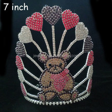 fashion metal silver plating full crystal pageant teddy bear black tiara