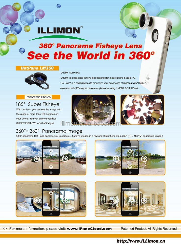 illimon/OEM highly welcomed/Universal Clip 360 Degree Panorama 185 Degree Super Fisheye Mobile Phone Camera Lens