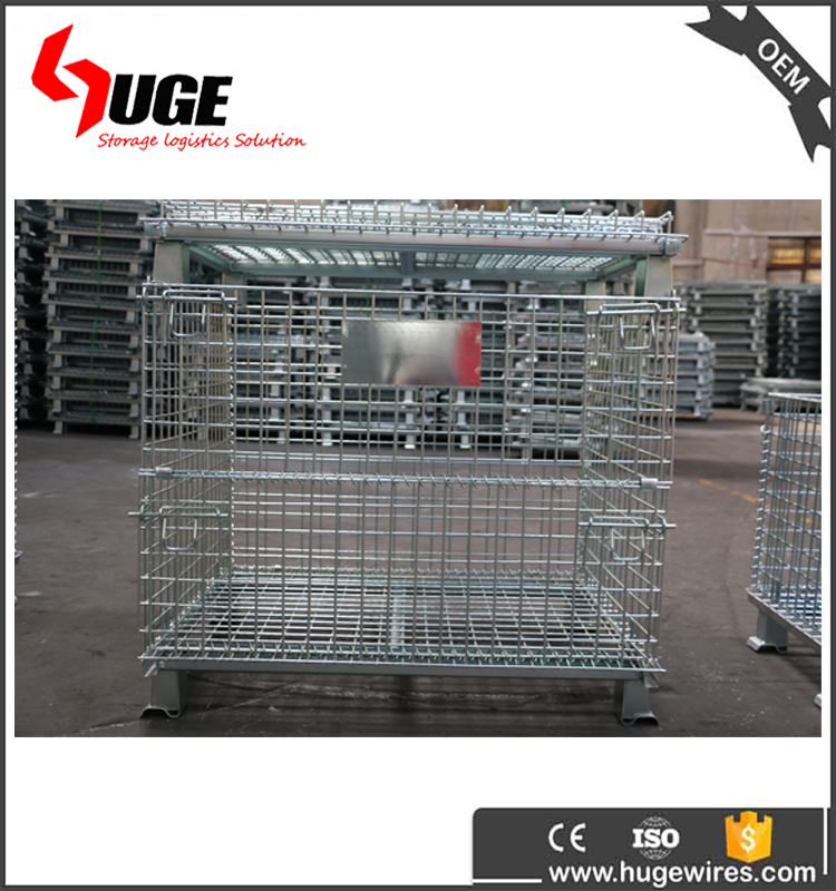 Folding Portable Security Metal Steel Stillage Storage Cage With Wheel