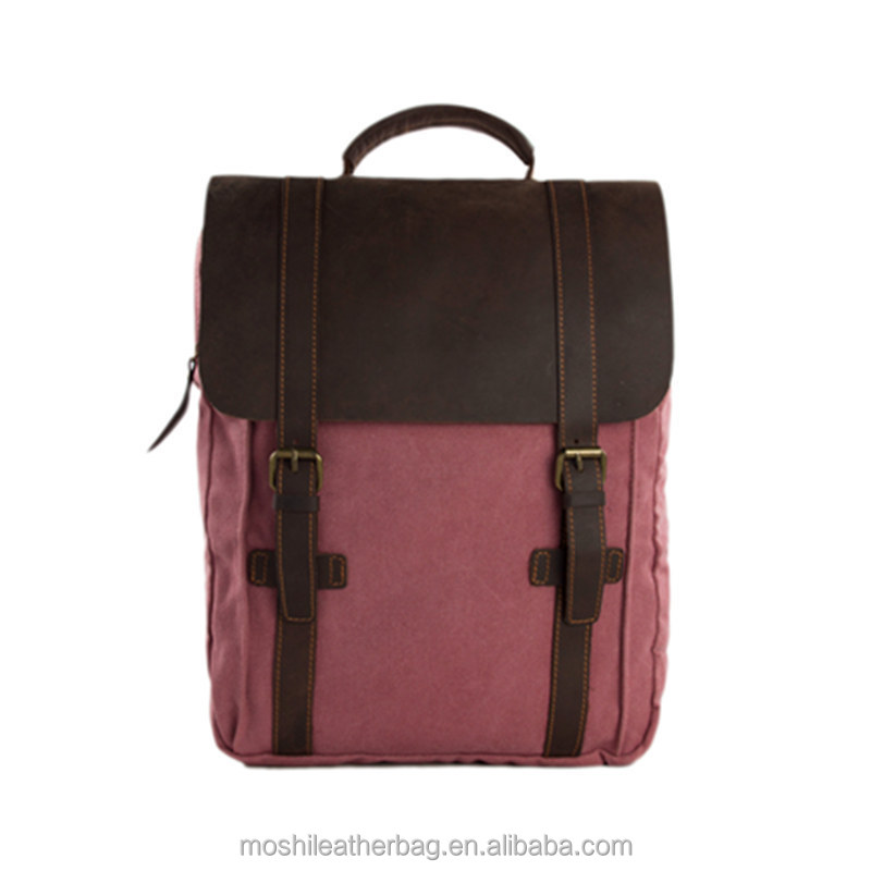 Leather Canvas Travelling Backpack