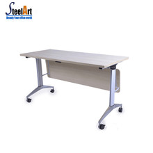 Modern office used folding study table movable folding mahjong table sapce-saving folding table with wheel