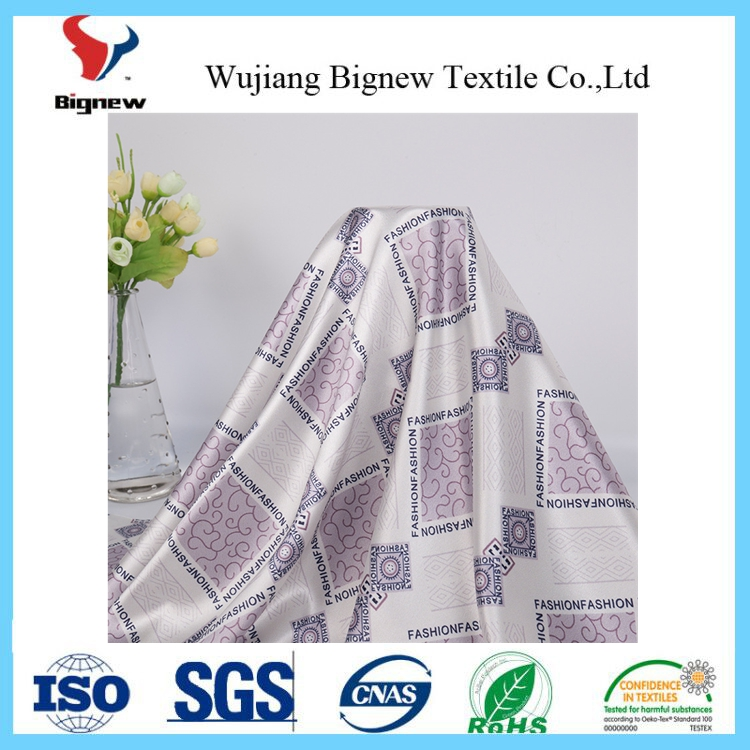 wholesale beautiful printed satin fabric for curtain