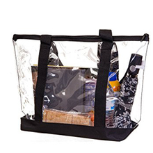 Fashionable blank clear pvc tote bags with handles