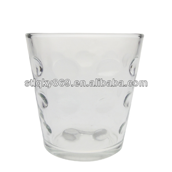 Retro dots pattern glass transparent glass whiskey cup mini creative fashion big mouth glass beer mug