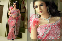 Beautiful Heavy Embroidered Stone Work Pink Saree