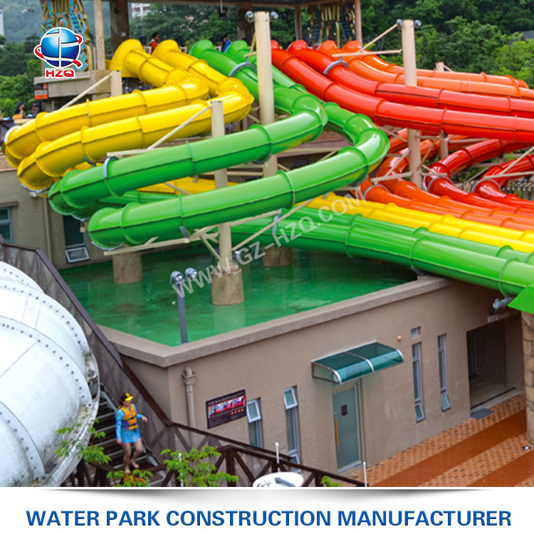 Best price popular Octopus Racing Slide factory long swimming pool waterslide in slides fiberglass