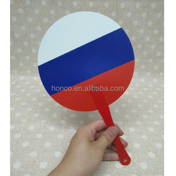 Russia color plastic round handle fan