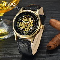 MCE branded Mens Classic Transparent Wristwatch Skeleton Mechanical Man Stainless Steel Watch 370