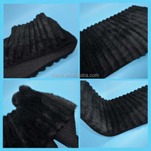 Black color 1.5m width knitted fake fur 900g/m 18mm pile cutting groove 100%AC fabric material for making dresses
