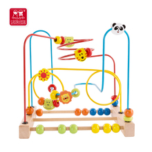 Children educational toy wild animal kids wooden bead roller coaster for toddler 1+