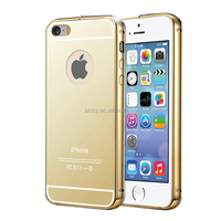 Ultra thin slim Aluminum frame metal bumper with mirror back cover case for iPhone 5