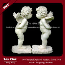 Small Kissing Cherub Natural Stone Angel Sculpture For Sale