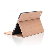 Durable Book Type Stand Holder Full Protection Wood Grain Painted PU Leather Cover Case for iPad Mini 4