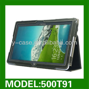 PU leather stand case for Samsung AVIT smart PC 500T tablet PC leather case