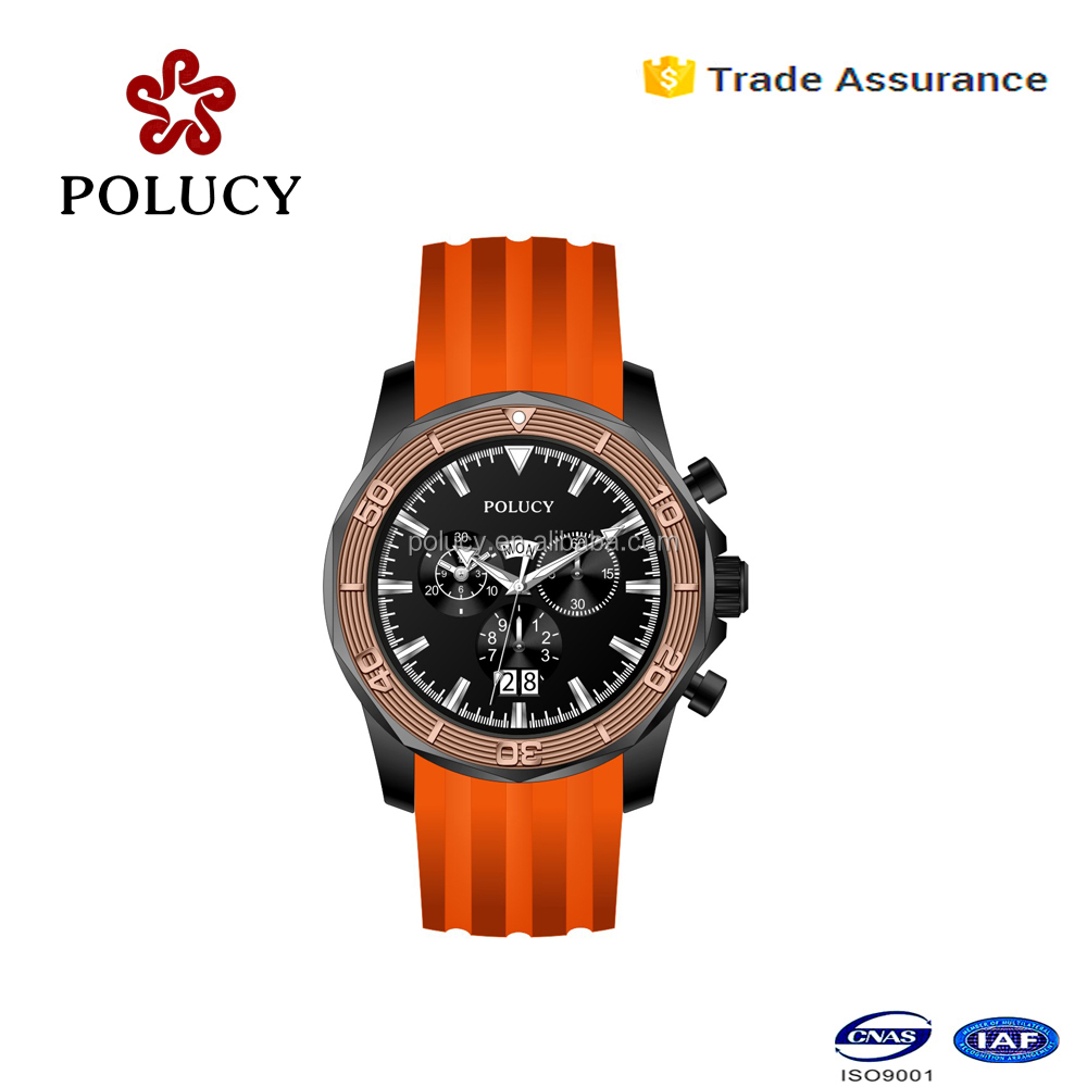 Shenzhen factory custom orange color silicone chronograph wrist watch for men with sapphire glass
