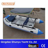 CE certificate 4.3m aluminum floor inflatable rubber boat with motor