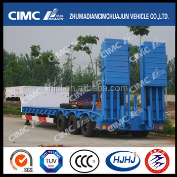 CIMC 3axle Lowbed Semi-Trailer with Hydraulic Ramp