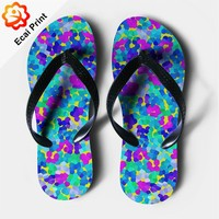 Hot sell flat customize teenager sandals with illustration