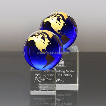 Folk Art Style and Trophy Product Type crystal globe trophy award for business gift