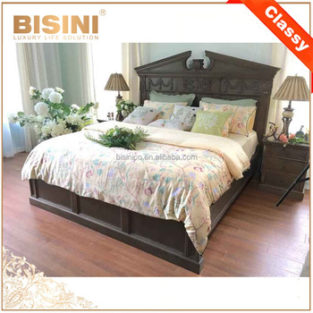 European Traditional Hand Carved Solid Wood King Size Wedding Bed With Vivid Carving/ French Provincial Bedroom Furniture