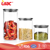 factory OEM&ODM 250ml 300ml 500ml food grade hand-blown soda lime moistureproof Kitchen cylindrical storage food glass container