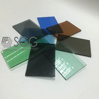 Tinted float glass colors grey bronze green blue, thickness 4-12mm