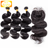Virgin Hair Unprocessed Top Quality Brazilian 3 Bundle Deals 9A Grade Body Wave Virgin Human Hair With Lace Closure
