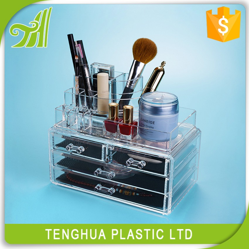 Hot sell Makeup Cosmetics Jewelry Organizer Clear Acrylic 4 Drawers Display Box Storage