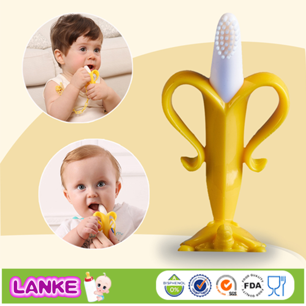 FDA Approved Silicone Banana Toothbrush Baby Teether Toys