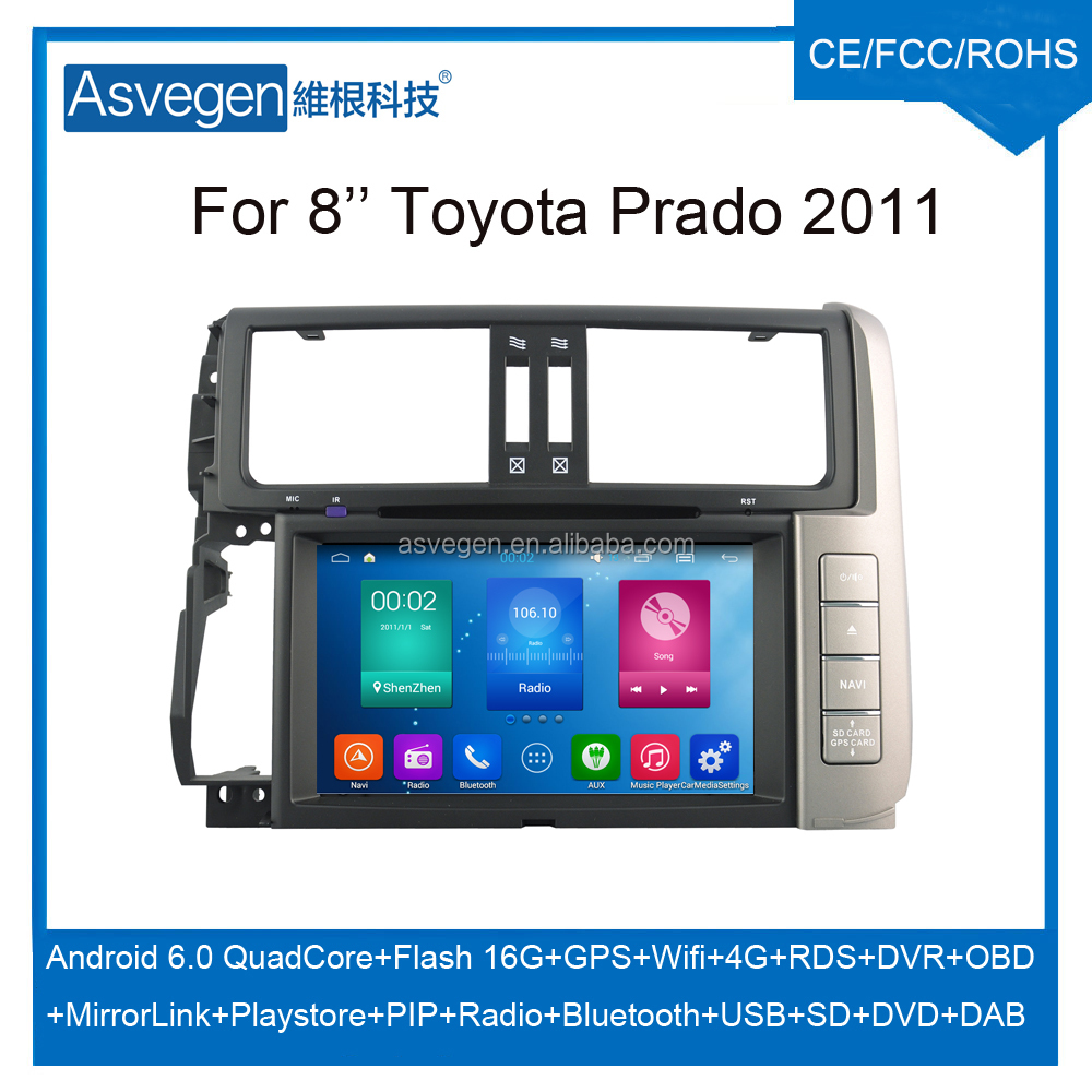 Wholesale Android Car DVD Player for 8'' Toyota Prado 2011 Navigation Car DVD GPS Support Playstore,4G,WIFI