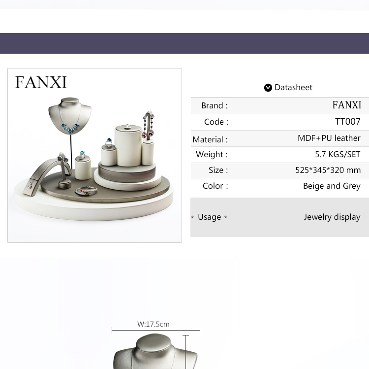 FANXI Jewellery Shop Counter Display Set For Bracelet Necklace Ring Exhibitor Organzier Holder Custom Leather Jewelry Display