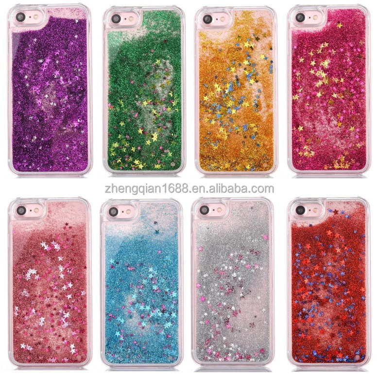 Colorful Bling Loving Moving Glitter Stars liquid Quicksand phone case for iphone X 6 7 8 PLUS transparent soft TPU cover cases