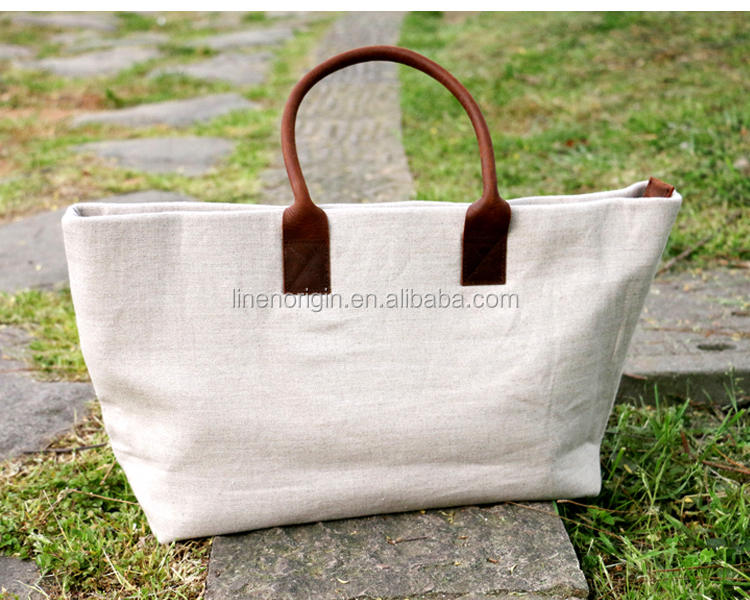 durable 100% linen handbag ,wholesale linen shoulder bag for ladies