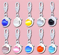 Mixed Silver Plated Dolphin Cat's Eye Glass Clip On Charms 29x11mm