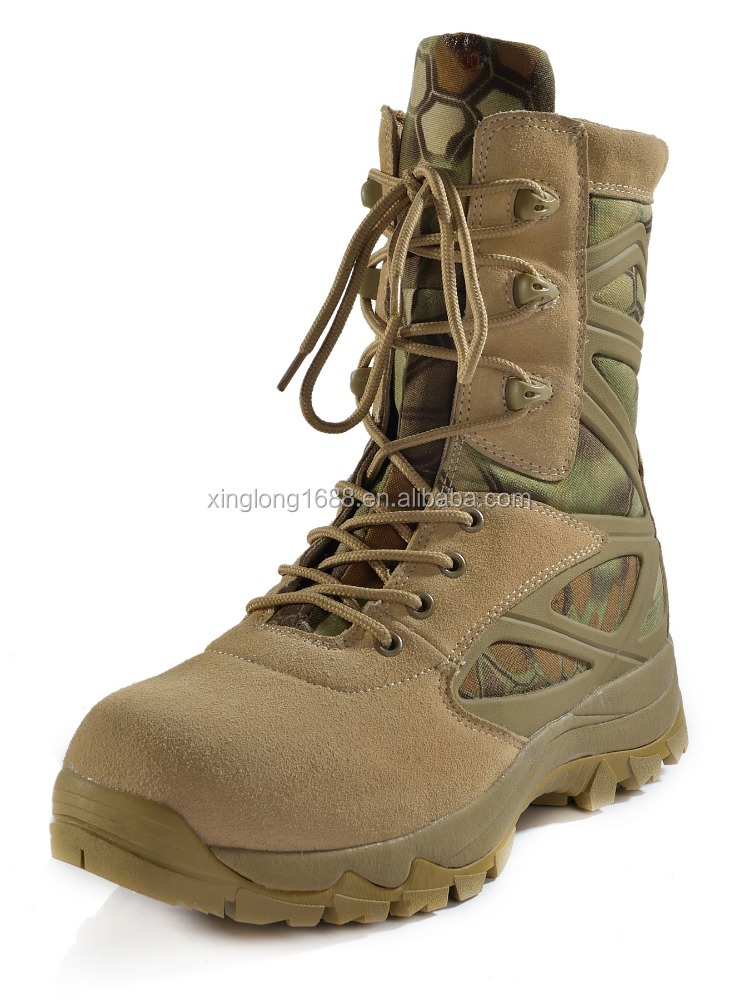 High quality cheap camouflage color rubber sole military boots