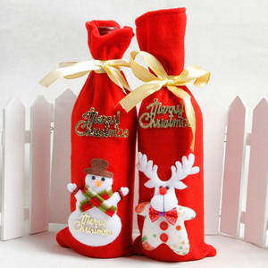wholesale party home desk decoration drawstring wine bag christmas felt red non woven gift bag