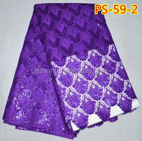 Purple lovely African embroidery Cord Lace Fabric 5 yards/lot PS-59-2