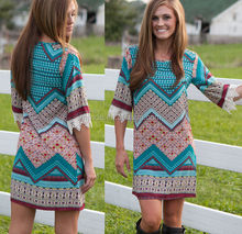 3/4 printed dress with crochet cuff women lady garment