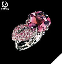 Brilliant crystal rose silver bijou marquise cut ruby rings