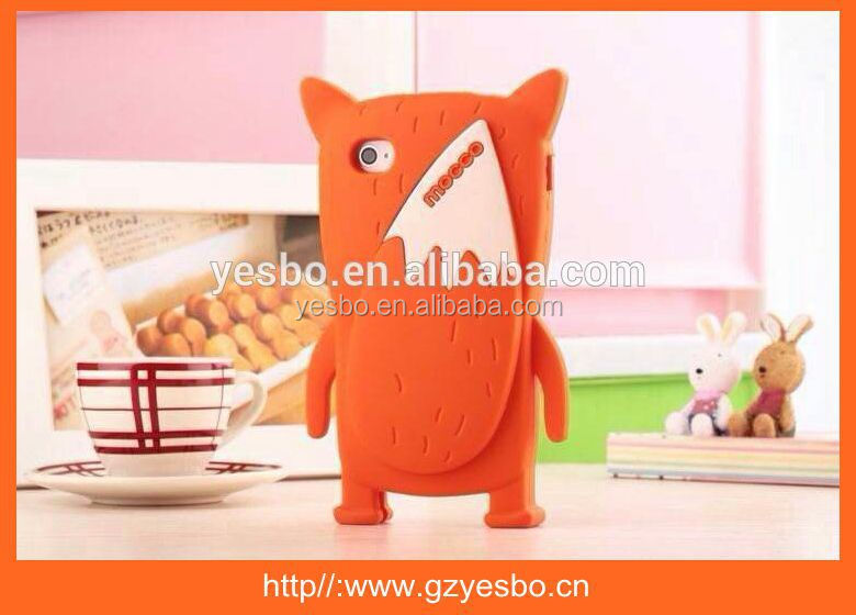 3D fox shape silicone mobile phone case cute animal phone cases for iphone 4 4S with strawberry fragrance