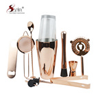 Gold Plated Stainless Steel Boston Cocktail Shaker Bar Set