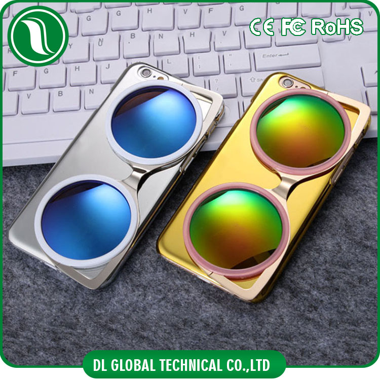Fashion personality phone case electroplate PC cell phone case with 3D sunglasses holder folding for iphone 6s plus